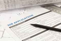 Job application form on architectural plan Stock Photos