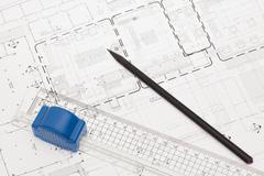 Architectural design and drawing Stock Photos