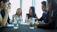 Stock Video Footage of Boardroom Meeting Successful Asian Chinese Business People