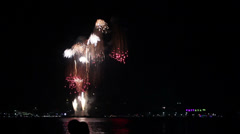 Fireworks at Pattaya city, Thailand Stock Footage
