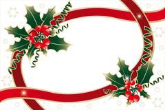 Holly decoration isolated on white Stock Illustration