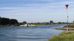 Doesburg - Bronkhorst cable ferry across IJssel river, The Netherlands Stock Footage