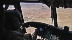 Stock Video Footage of Pilots fly  CH-47F Chinook helicopters