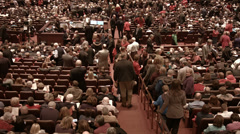 Crowd arriving LDS Mormon Tabernacle Choir concert HD 0510 Stock Footage