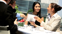 Male Female Multi Ethnic Business Colleagues Rooftop Restaurant - stock footage