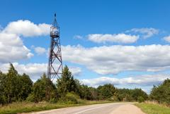 Summer landscape with geodetic point in russia Stock Photos