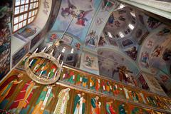 Interior of the assumption cathedral in valday monastery , russia. Stock Photos