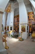 Interior of russian orthodox church in novgorod region, russia. Stock Photos