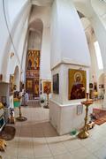Interior of russian orthodox church in novgorod region, russia. fisheye. Stock Photos