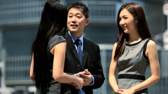 Asian Chinese Business People Outdoors Downtown Stock Footage