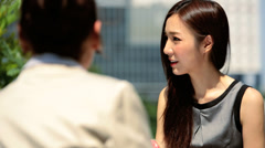 Female Asian Chinese Business People Outdoor Meeting Stock Footage