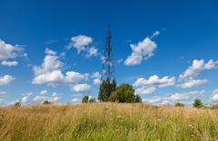 summer landscape with geodetic point in russia - stock photo