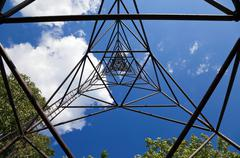 geodetic point against blue sky. view from inside. - stock photo