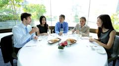 Ambitious Multi Ethnic Advertising Executives Restaurant Stock Footage