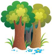 Cartoon Forest - stock illustration