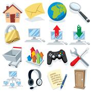 Cartoon Internet Icons Part 1 - stock illustration