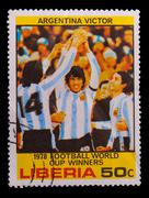 LIBERIA - CIRCA 1978: A post stamp printed LIBERIA, Argentina wi - stock photo