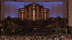 Crowd entering LDS Mormon Conference Center concert HD 0445 Stock Footage