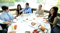 Multi Ethnic Corporate Executives Restaurant Meeting Stock Footage