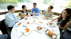 Toast Ambitious Multi Ethnic Advertising Executives Restaurant Stock Footage