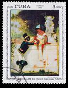 "CUBA - CIRCA 1973: Stamp printed in CUBA, Artist Plandaluze ""gal - stock photo"