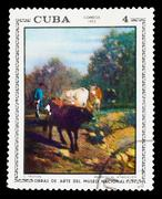 "CUBA - CIRCA 1973: stamp printed by CUBA, shows C. Troyon ""regre - stock photo"
