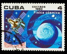 CUBA - CIRCA 1980: A stamp printed in CUBA, Intercosmos program - stock photo