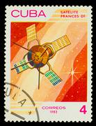 CUBA - CIRCA 1983: A stamp printed in Cuba, shows French space s - stock photo