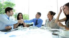 Stock Video Footage of Multi Ethnic Business People Congratulating Business Success