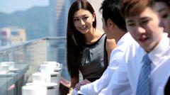 Ambitious Team Business Associates Meeting Rooftop Restaurant - stock footage