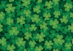 Seamless Clover Pattern - stock illustration