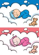 Sleeping Baby - stock illustration