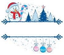 Snowman Frame - stock illustration