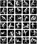 Summer Sports Symbols - stock illustration