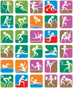 Summer Sports Symbols - Colorful - stock illustration