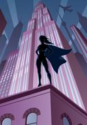 Super Heroine in City Stock Illustration