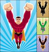 Superhero Flying - stock illustration
