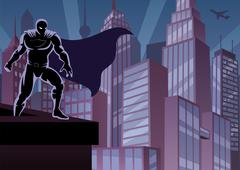Superhero on Roof Stock Illustration