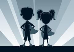 Superkids Silhouettes Stock Illustration