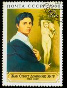 USSR - CIRCA 1980: Stamp printed in USSR, shows Jean Auguste Dom Stock Photos