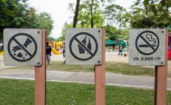 prohibit sign in public park - stock photo