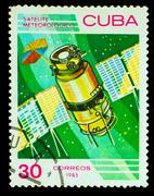 CUBA - CIRCA 1983: stamp printed by CUBA, shows meteorology sate Stock Photos