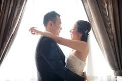 Asian chinese wedding couple dancing Stock Photos
