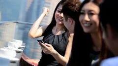 Ethnic Corporate Business Partners News Success Smart Phone - stock footage