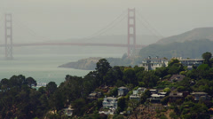 View of Golden Gate and hillside Stock Footage