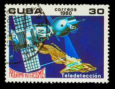 CUBA - CIRCA 1980: A stamp printed in CUBA, Intercosmos program, - stock photo