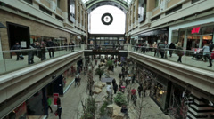 Inside luxury shopping mall holiday fast timelapse HD 0234 Stock Footage