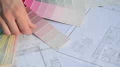 Woman pick color palette Stock Footage