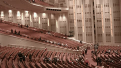 LDS Mormon Conference Building inside pan HD 0357 Stock Footage
