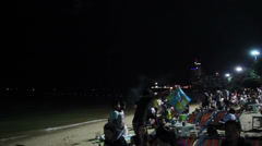 People are waiting show the Pattaya International Fireworks Festival Stock Footage